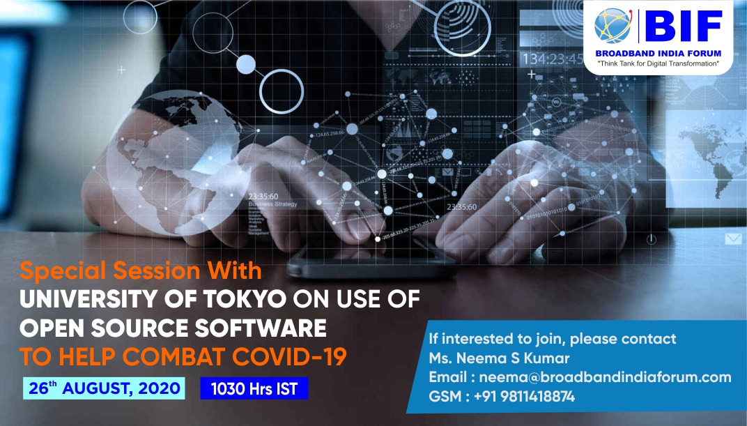 Special Session with University of Tokyo on use of Open Source Software to help combat COVID-19 -26th August, 2020